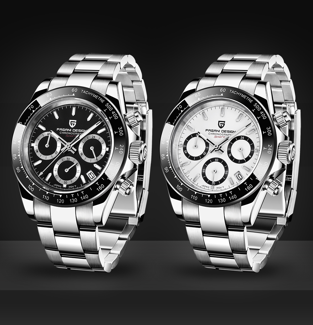 PAGANI DESIGN Mens Watch Classic White/Black Dial Men Quartz Chronograph Watches Stainless Steel 30m Waterproof Mechanical Watch