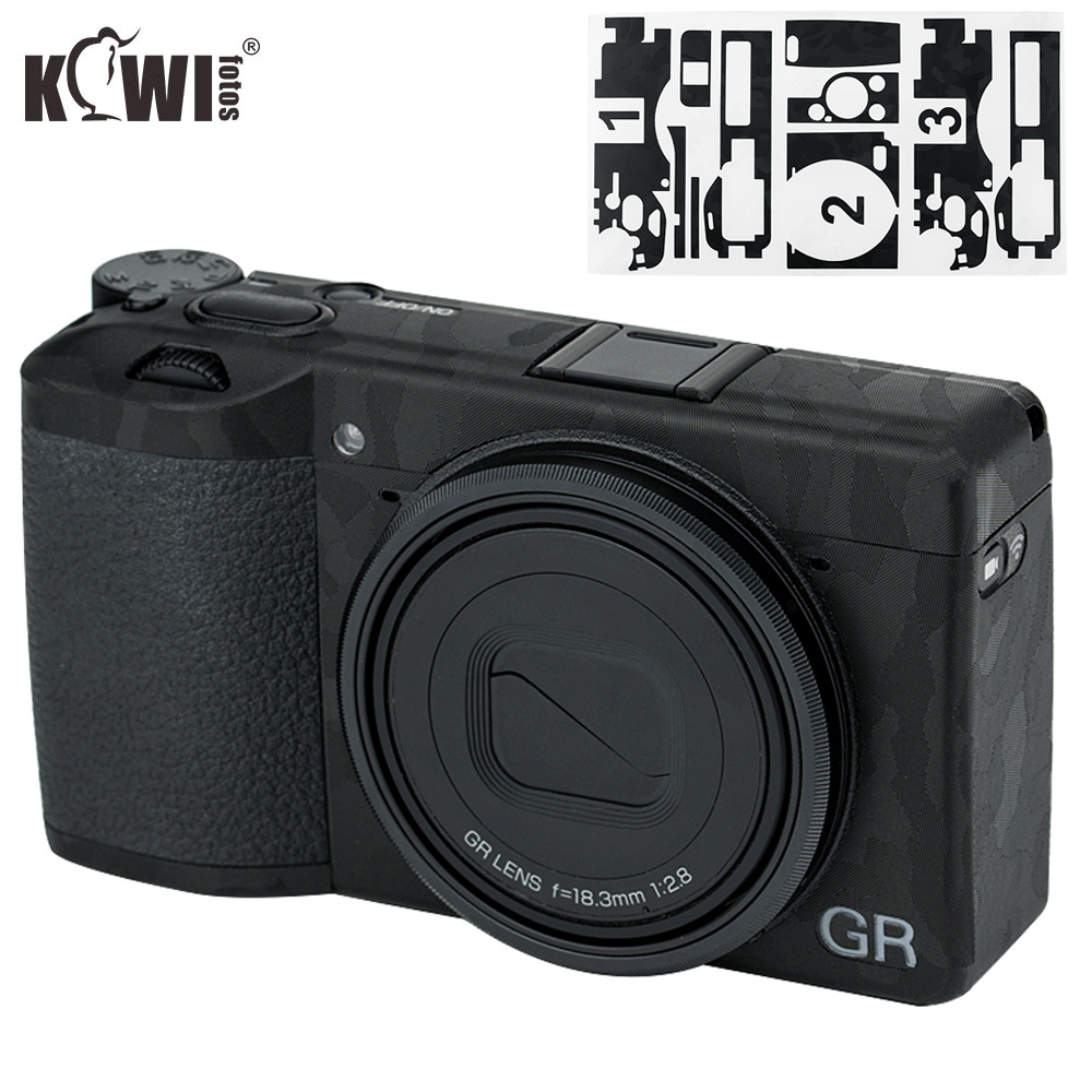 Kiwi Anti-Scratch Camera Body Skin Protective Film Kit For Ricoh GR III GRIII GR3 GR Mark III Cameras 3M Stickers Shadow Black