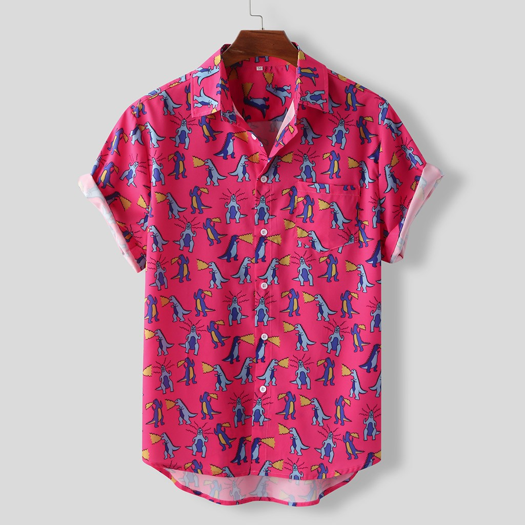 2020 New Pink Men's shirts Tops Summer Short Sleeve Loose Buttons Hawaiian Casual Shirt Blouse men clothing Tops chemise homme