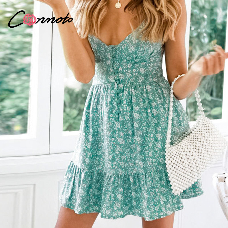 Image 3 - Conmoto Ruffles Spaghetti Strap Green Women Dresses Button Female Beach Summer 2019 Dress Mini Sexy Dress VestidosDresses   -
