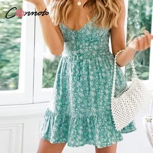 Image 3 - Conmoto Зелёные летние платья на тонких бретельках, платье с воланами, сексуальное короткое платье, пляжное платье, 2019