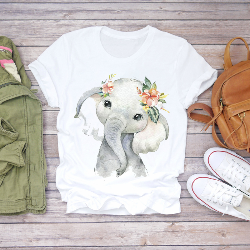 Women 2020 Summer Short Sleeve Floral Flower Elephant Cute Lady T-shirts Top T Shirt Ladies Womens Graphic Female Tee T-Shirt