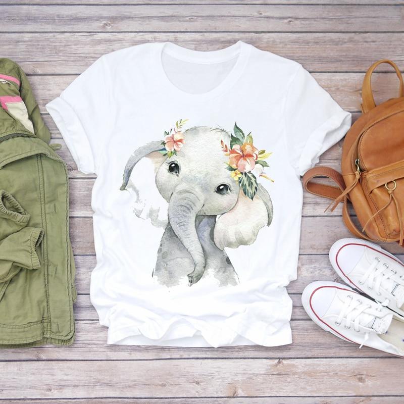Women 2020 Summer Short Sleeve Floral Flower Elephant Cute Lady T-shirts Top T Shirt Ladies Womens Graphic Female Tee T-Shirt