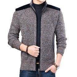 Hiver hommes Streetwear veste casual Cardigan manteau tricoté Cardigan épais fermeture éclair Patchwork mâle pull col Mandarin vêtements d'extérieur