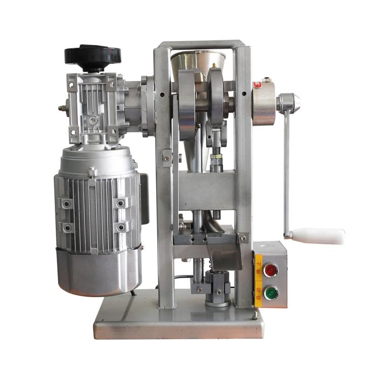 Vieno štampuoto tablečių presavimo staklių tablečių presavimo aparatas, varomas tiek varikliu, tiek rankiniu būdu valdant rankinį / mažą piliulę