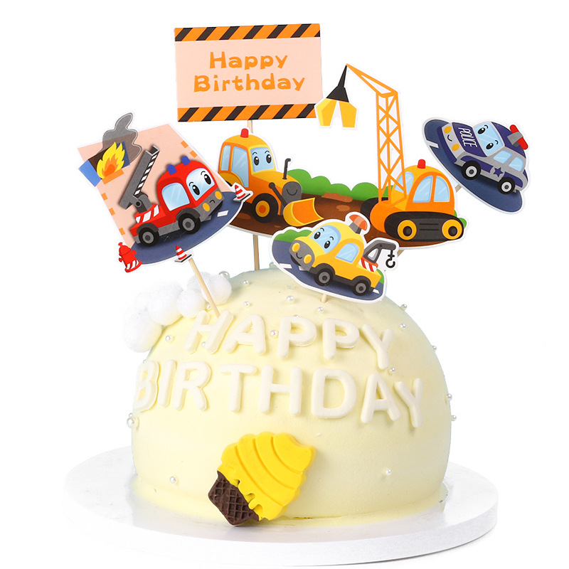Happy Birthday Paper Cake Topper Car Airplane Engineering Vehicle Cake Topper for Kid Birthday Party Cupcake Decoration Supplies