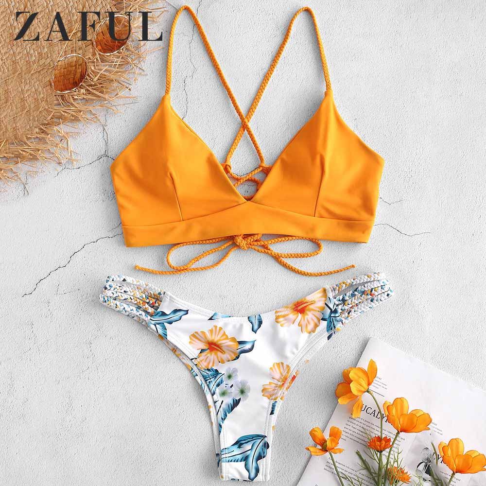ZAFUL Braided Strap Flower Bikini Set Spaghetti Straps Wire Free Lace Up Low Elastic Waisted Swim Suit Women Summer 2Pieces Sets