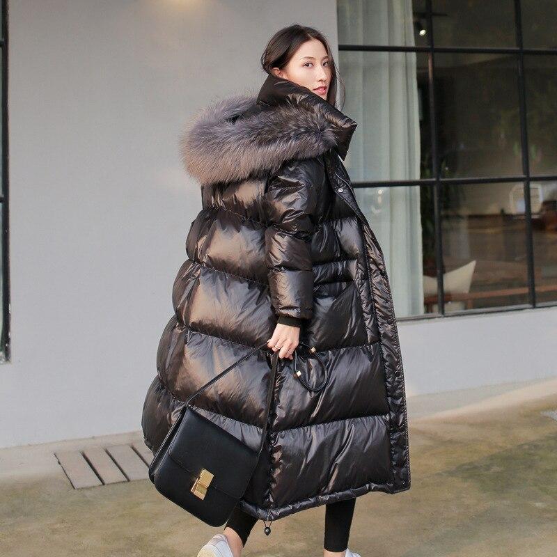 Artific Big Fur Collar Coat Women Warm Parka Cotton Padded Plus Woman Winter Jacket Long Black Glossy Overknee Winter Coat Parka