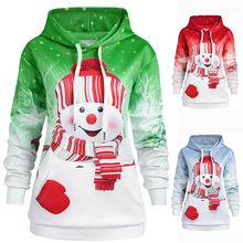2019 Hoodies Women pullover New Fashion Christmas Big Pocket Cartoon Snowman Print Top sweatshirt sudadera mujer moletom clothes(China)