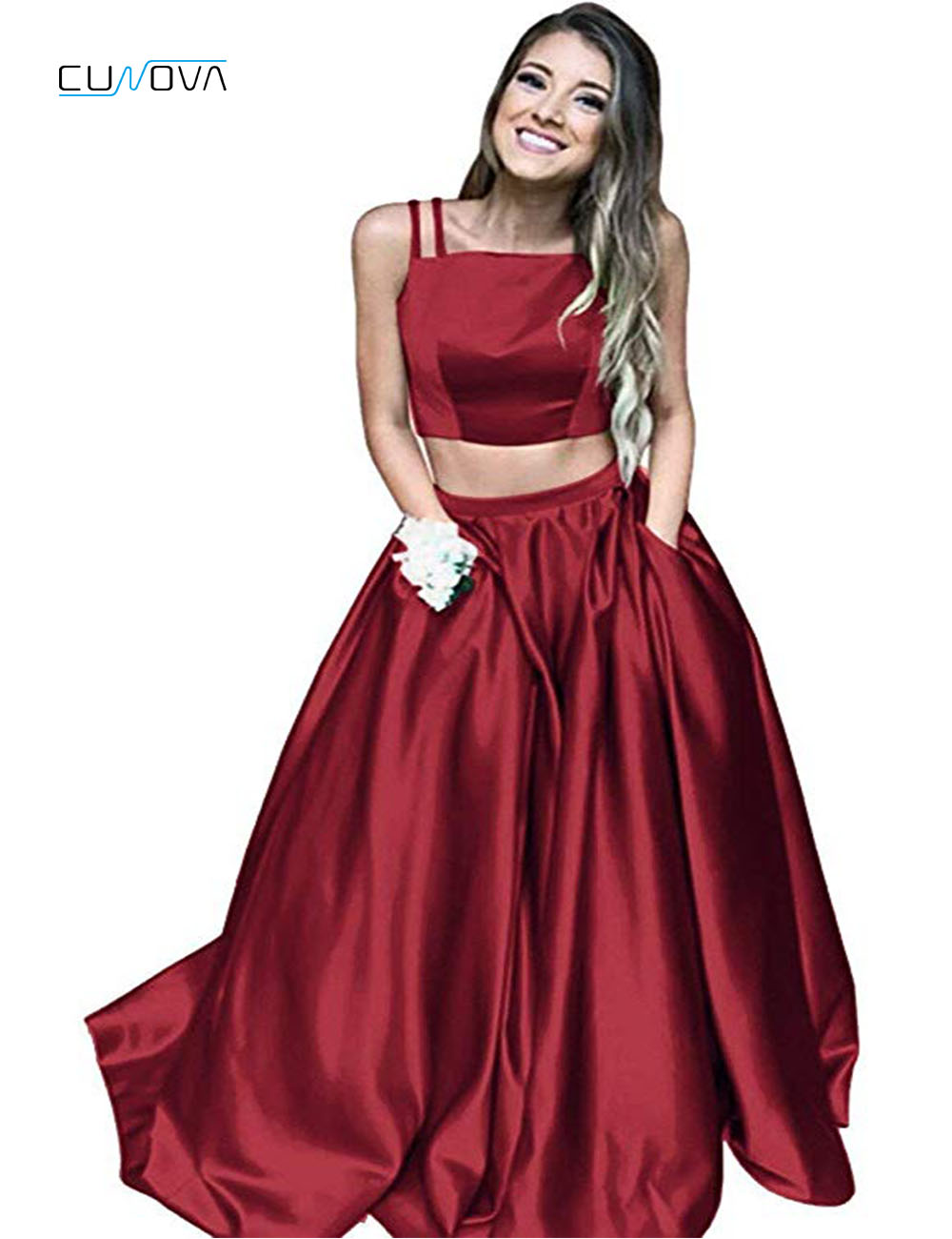 Fashion Two Pieces   Prom     Dresses   Spaghetti Straps Simple A-Line Long   Prom     Dresses   2019 Cheap Graduation   Dress   Evening Party   Dress