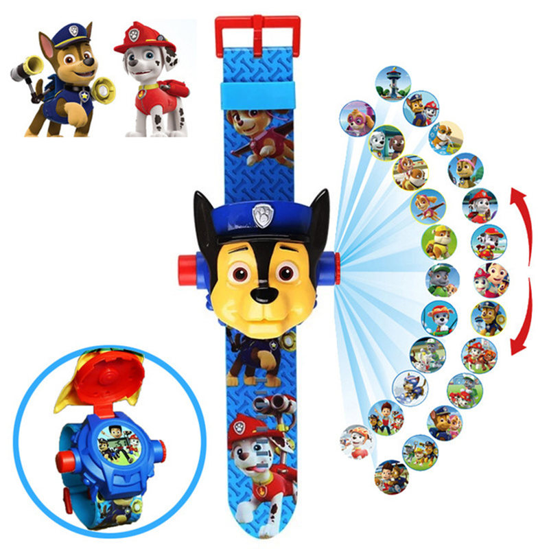 Paw Patrol Toys Set 3D Projection Digital Watch Dog Puppy Patrulla Canina Anime Action Figures Model Toy Marshall Chase Kid Gift