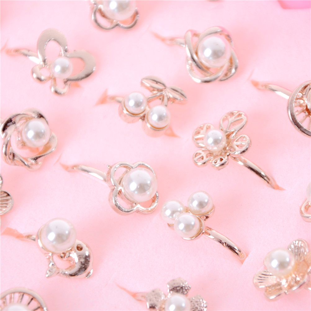 Wholesale 2pcs Lovely Mixed Crystal Ring Set Girls Princess Children Kids Imitation Pearl Rings Random Send DIY Craft Toys