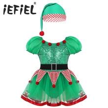 בנות ילדים ירוק Elf חג מולד כובע שמלת קוספליי ליל כל הקדושים תלבושות שמלות תפקיד לשחק מסיבת תלבושות תחפושות קרנבל קוספליי