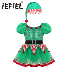 Girls Kids Green Elf Christmas Hat Dress cosplay Halloween Costume Dresses Role Play Party Outfits costumes for Carnival Cosplay