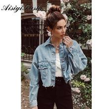 AISIYIFUSHI Boyfriend Style Cropped Jean Jacket Women Summer Blue Denim Jacket 2020 Long sleeved Womens Jackets Coats for Spring