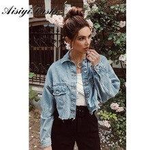 AISIYIFUSHI Estilo Boyfriend Cropped Azul Denim Casaco Jaqueta Jeans Mulheres Verão 2020 Longa sleeved Mulheres Jaquetas Casacos para a Primavera