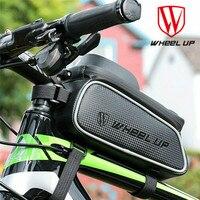 Wheelup bolsa impermeável para guidão de bicicleta  bolsa para guidão ou capacete  touch screen  6  Polegada  ciclismo  telefone saco do saco