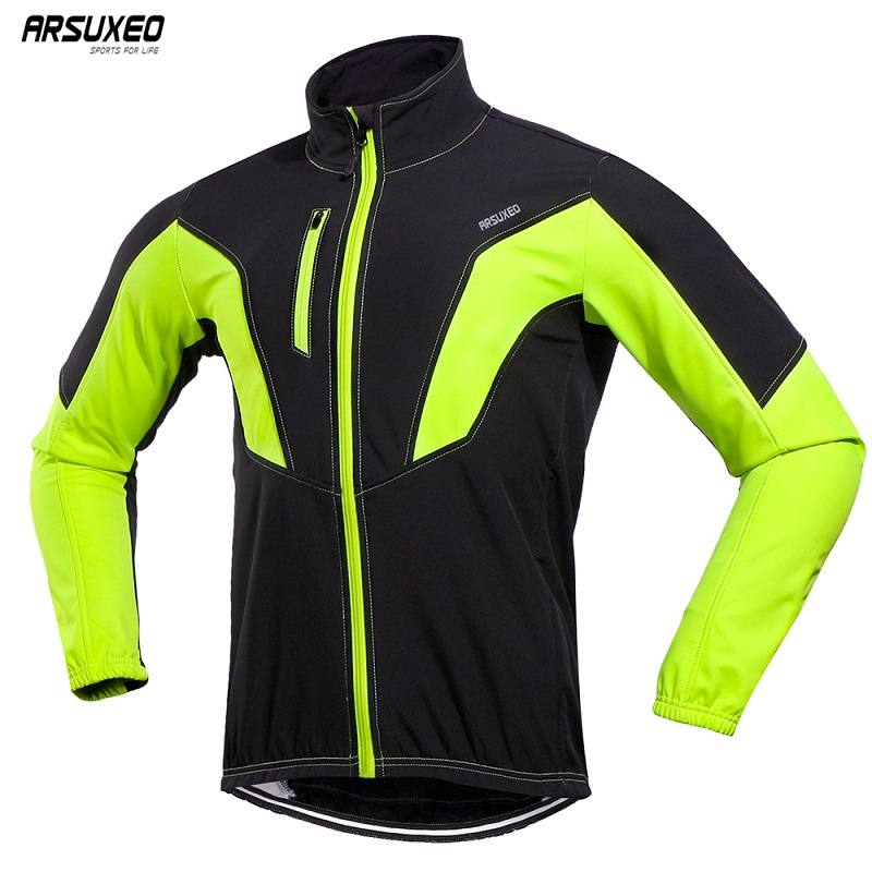 ARSUXEO Men's Winter Thermal Cycling Jacket Windproof Waterproof MTB Bike Jacket Warm Bicycle Jersey Sports Coat Reflective17N
