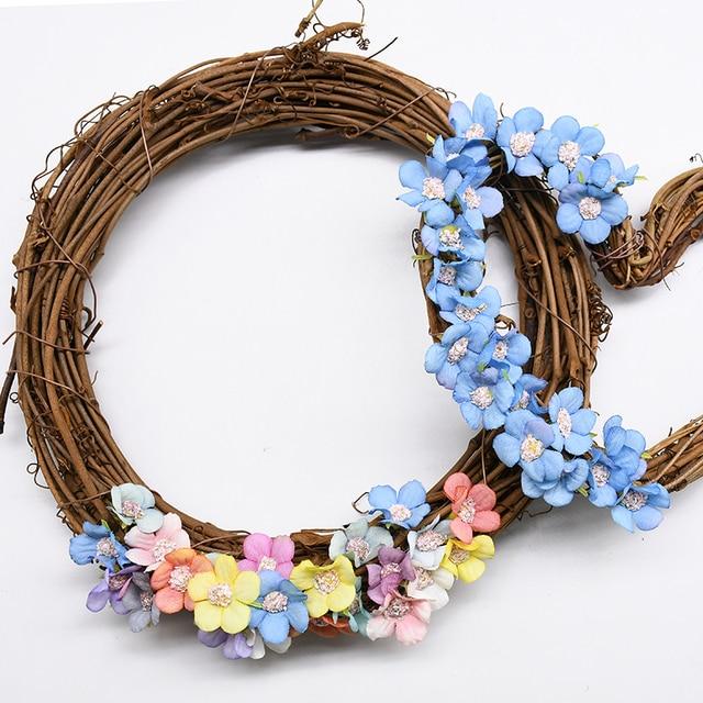 10 30CM Metal doğal Rattan yapay Garland çiçek çelenk yılbaşı süsleri düğün parti kız gelin dekorasyon malzemeleri
