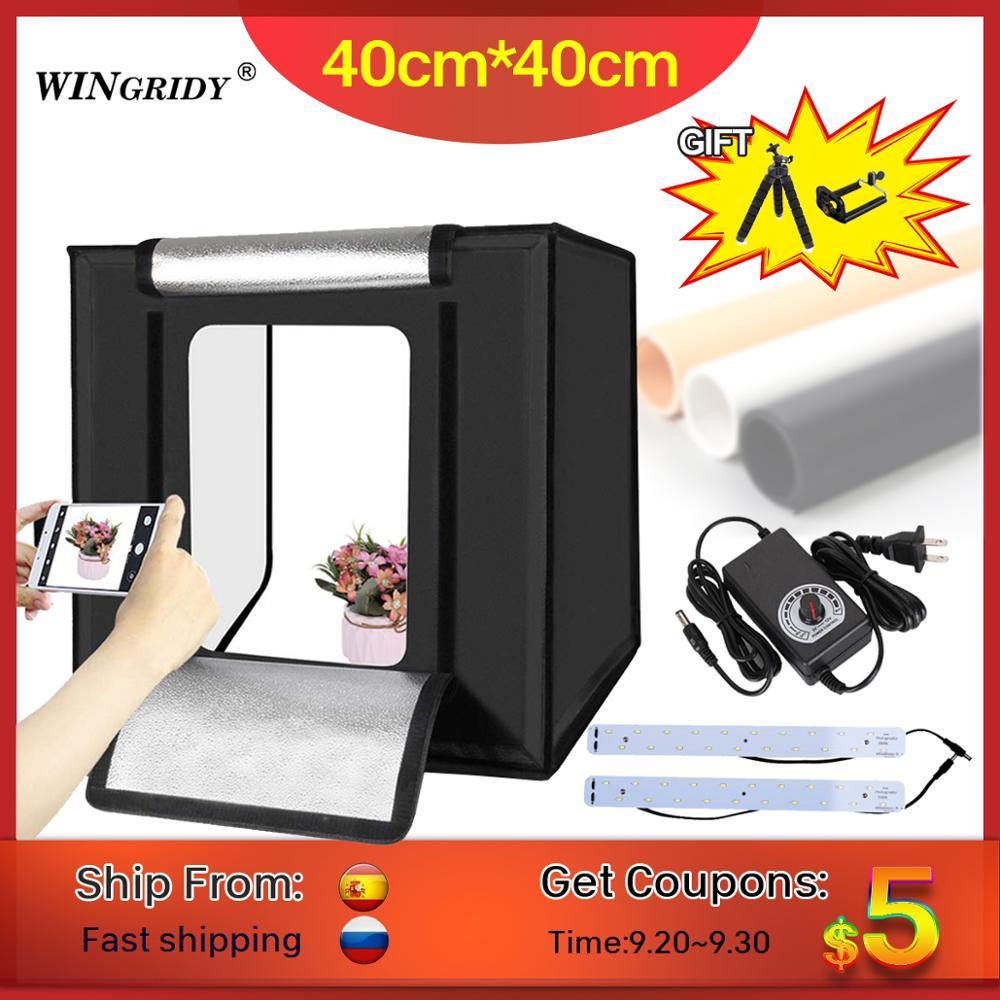 WINGRIDY W40 LED pliant Photo Studio Softbox Lightbox 40*40 lumière tente avec blanc jaune noir fond accessoires boîte lumière-in Table de tir from Electronique    1