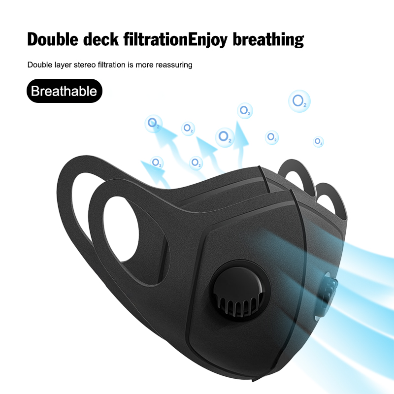 3PCS Outdoor Cycling Breathable Mask With Double Breathing Valves Face Shield Windproof Respirator Mask 3 Color Unisex Fast Ship