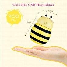 300ml Cartoon Bee USB Air Humidifier LED Lights Ultrasonic Aroma Diffuser Mist Maker Fogger Mini Home Air Purifier 3 Colors цена и фото