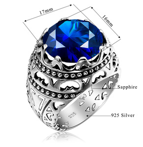 Image 5 - Szjinao Silver Rings For Men Real Sterling Silver 925 Round Carve Sapphire Gemstones Ring Vintage Fashion Ethnic Branded Jewelry