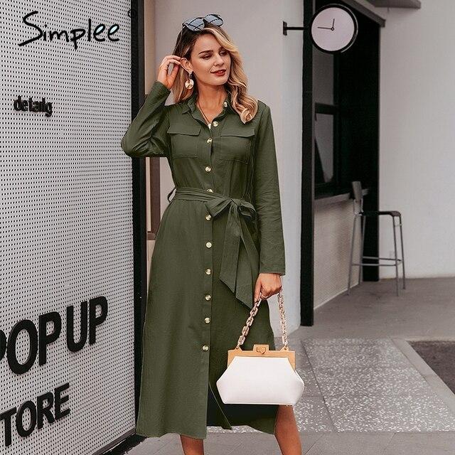 Simplee Streetwear Vestido largo de fiesta solapa arco algodón suelto maxi vestido elegante oficina trabajo de dama desgaste Otoño Invierno retro vestido