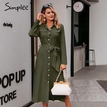 Simplee Streetwear ארוך המפלגה שמלת דש קשת loose כותנה מקסי שמלה אלגנטי משרד ליידי עבודה ללבוש סתיו חורף רטרו שמלה