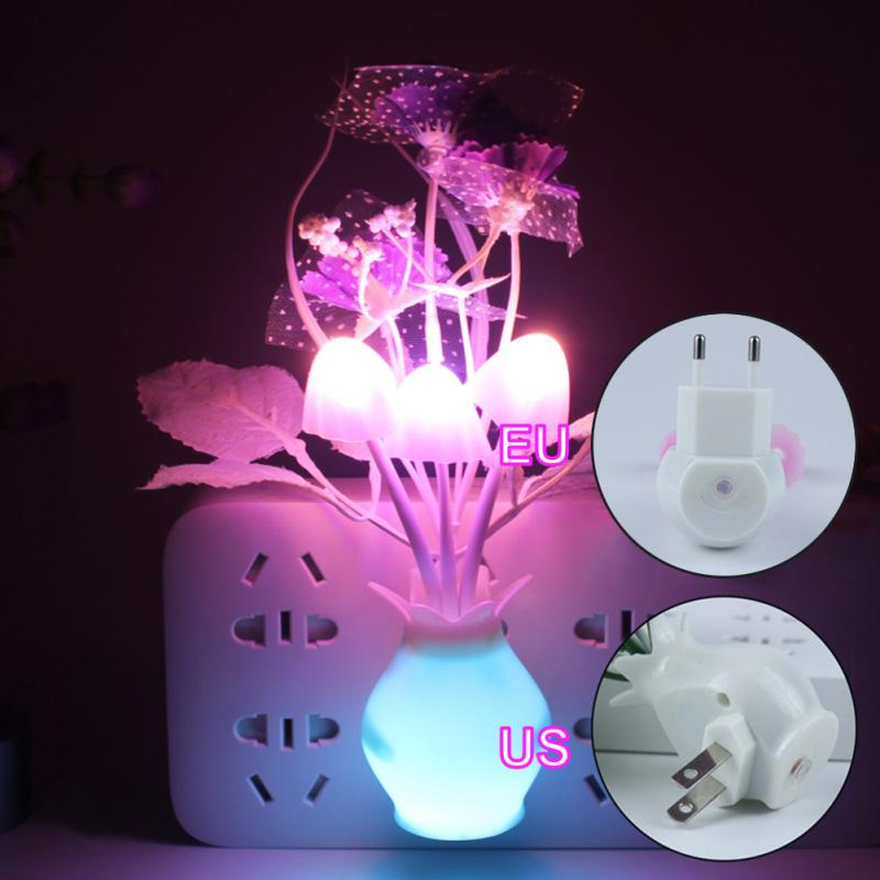 Smart Light Sensor Romantic Flower Mushroom Lamp Led Lamp Led Lights LED Night Plug-in Wall Lamp Home Illumination US/EU Plug