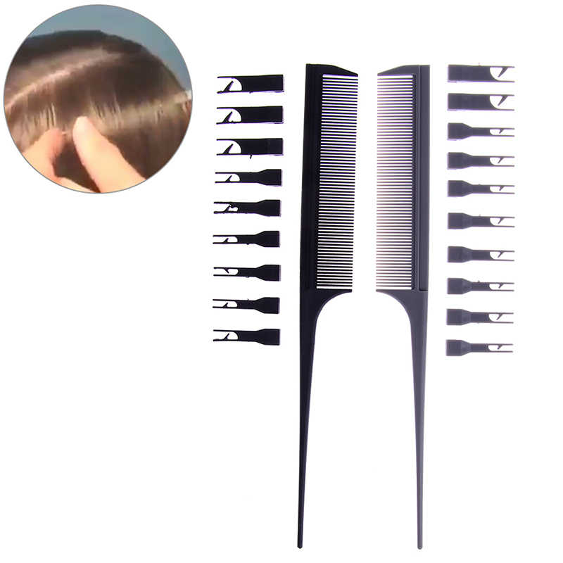 2 Side Adjustable Hair Dyeing Comb Head Massage Sectioning Weaving Cutting Brush Professional Hair Care Coloring Styling Tool