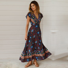 Bohemian Dress 2019 New Big Pendulum V-neck Beach Holiday Lace Printing Womens Clothing