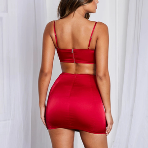 Image 3 - Colysmo סקסי 2 חתיכה להגדיר נשים בגדי כפול שכבות שתי חתיכה להגדיר קצוץ חולצות סאטן מיני חצאית סט Slim שני חתיכה מועדון תלבושות