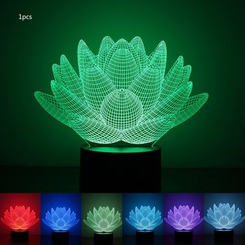 Colorful 3D Night Light Lotus Night Light Eye Care LED Light Bedside Night Lamp Home Decoration Birthday Gift waterproof colorful led cube night light vc a300