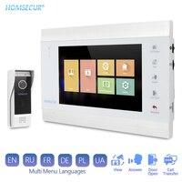 "HOMSECUR 4 Wire Video Door Phone Intercom 7"" Monitor Night Vision Doorbell Camera IP65 Support Motion Sensor Record 1.3MP"