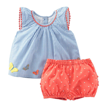Little maven girls Butterfly Applique Summer Set for Girls Kids Child Outfits Suits Baby