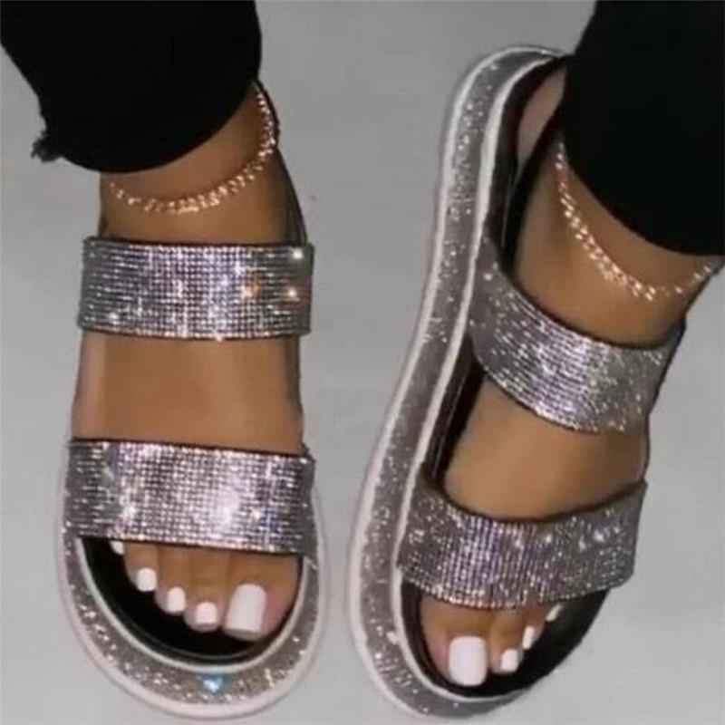 2020 Summer Beach Bling Crystal Rome Ladies Sandals Rhinestone Platform Buckle Flat  Heel Women Sandals Shoes Woman Plus Size
