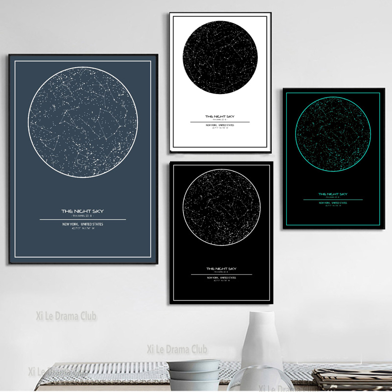 Индивидуальная карта ночного неба, печатная Персонализированная Карта звездного неба, холст, художественный плакат, живопись, роспись, домашнее украшение для гостиной