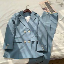Drop shipping Chic Blue Pant Suit Double-breasted Jacket & Pencil Pant Women Bla