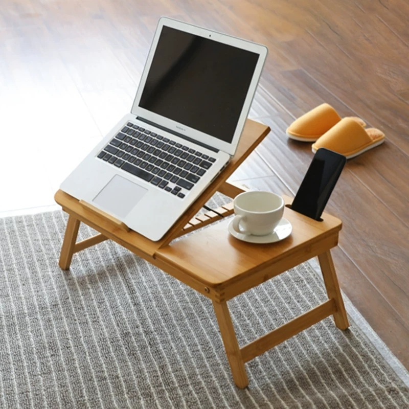 Adjustable Bamboo Laptop Desk Bed Tray Table Rack Shelf Tilting Surface Computer Notebook Book Home Furniture Studying Table