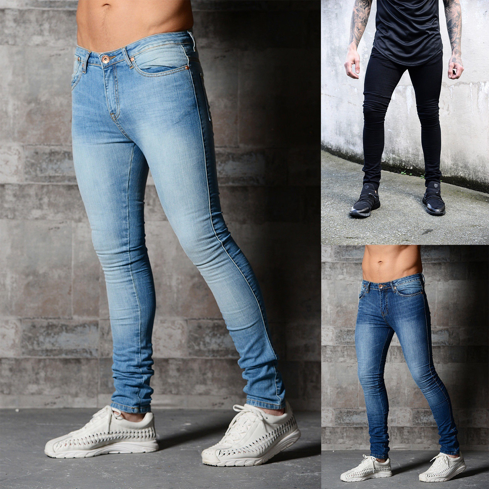 Mens brand Skinny jeans Pant Casual Trousers 2019 denim black jeans homme stretch pencil Pants Plus Size streetwear 3XL image