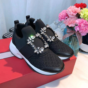 Image 5 - Platform Sneakers Crystal Buckle Air Mesh Designer Trainers Thick Bottom Chunky Womens Sneakers Vulcanized Casual Shoes 2019