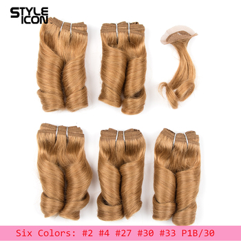 Styleicon Double Drawn Blonde Color Brazilian Finger Roll Loose Wave Hair Bundles With Closure 158G Pack Six Colors 27 30 P1B30