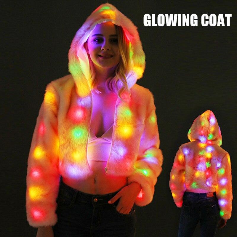 Éclairer manteau à capuche pour les femmes lueur cardigan à fermeture éclair Costumes Rave vêtements pour noël noël nouvel an NYZ Shop