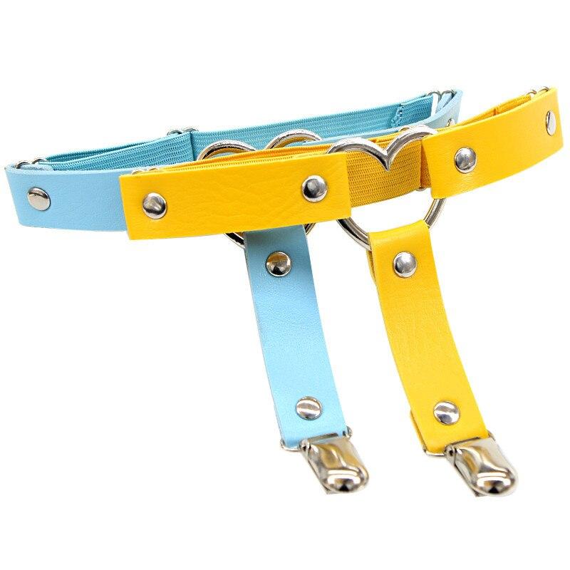 Women Punk Heart Sexy PU Leather Garter Belt Harajuku Elasticity Body Harness Tight Suspender Strap Leg Harness Bondage Belts