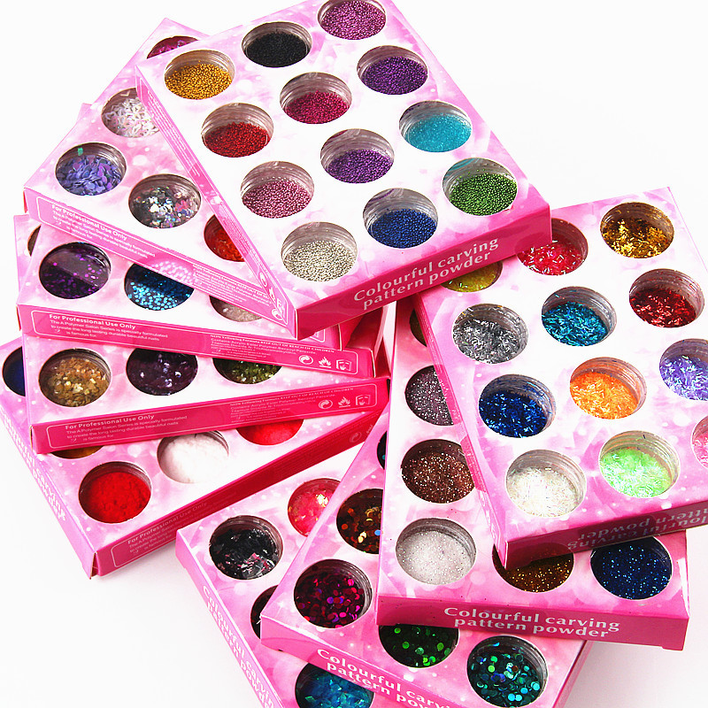 Manicure Supplies Wholesale Sequin Glittering Powder 12-Color Set Nail Sticker Oily Glue Shell Powder Caviar Rhombus Shimmering