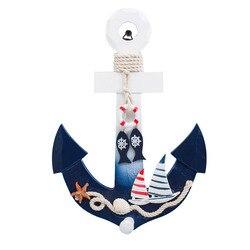 Âncora de madeira com corda náutico barco direção leme decoração da parede porta pendurado ornamento náutico decoração marinha