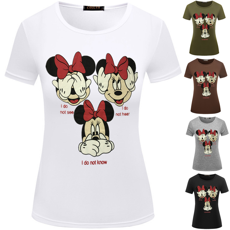 New Cute Cartoon Mouse shirt Femme Fashion White Black Color Girl Casual Tops Female  Shirt Summer Women T-shirt Comfort