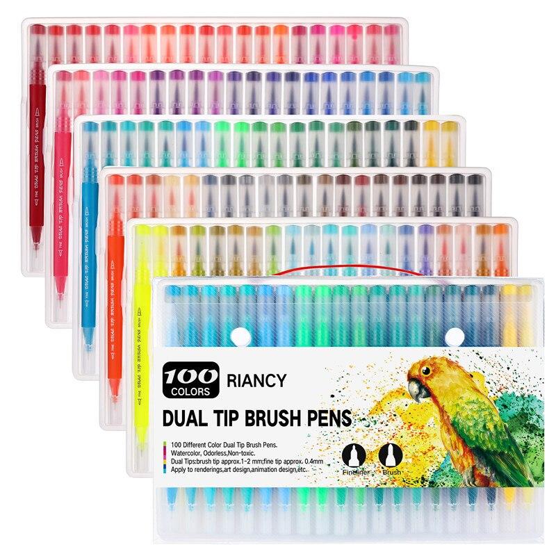 100 pièces couleurs de l'eau double pointe pinceau marqueur stylo ensemble Profession école Art fournitures pour dessin calligraphie stylos Copic marqueurs Gel
