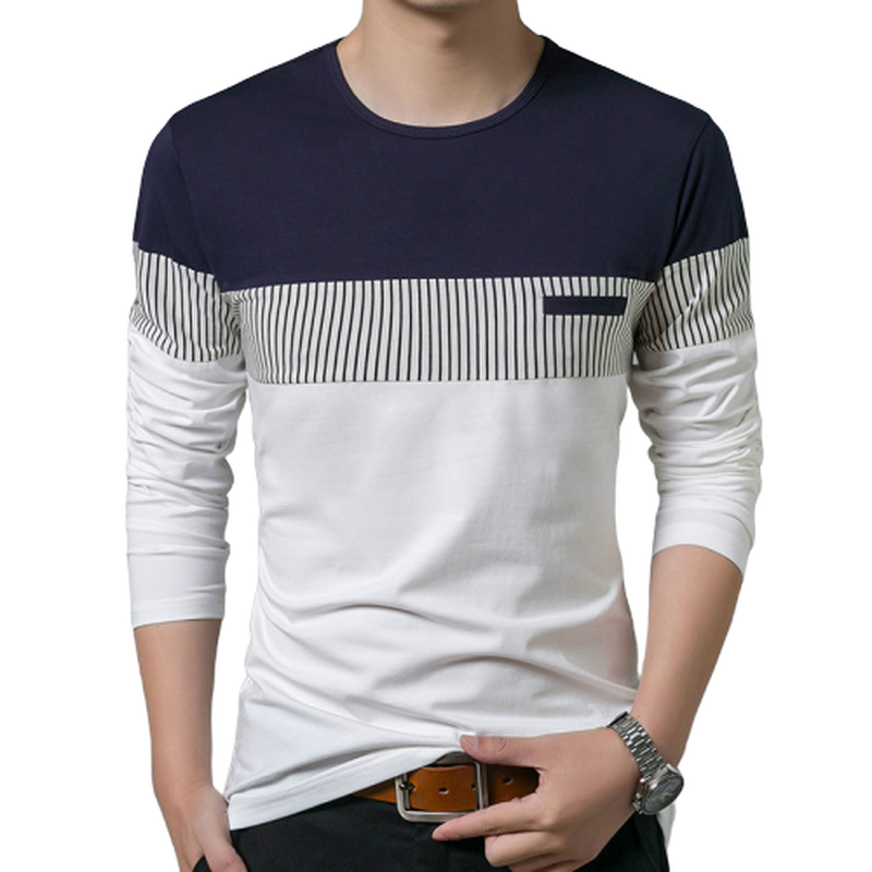 T-Shirt Men T-shirt long Sleeve Casual Mens O-Neck T Shirts Men TShirt Clothing Fashion Patchwork Cotton Fashion Men's Tee Tops